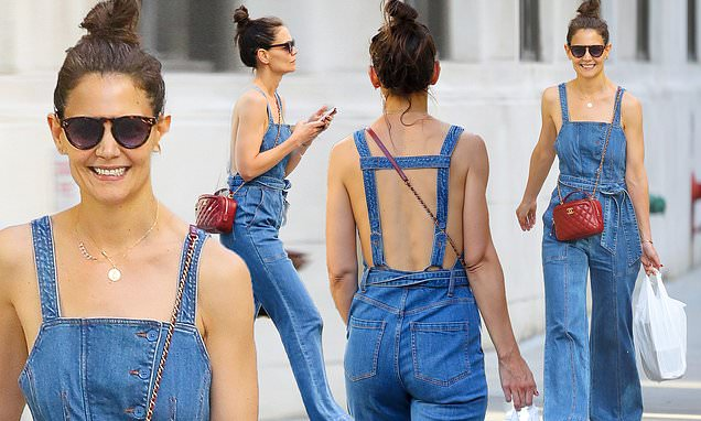 Katie Holmes shows skin as she goes shirtless under overalls in NYC
