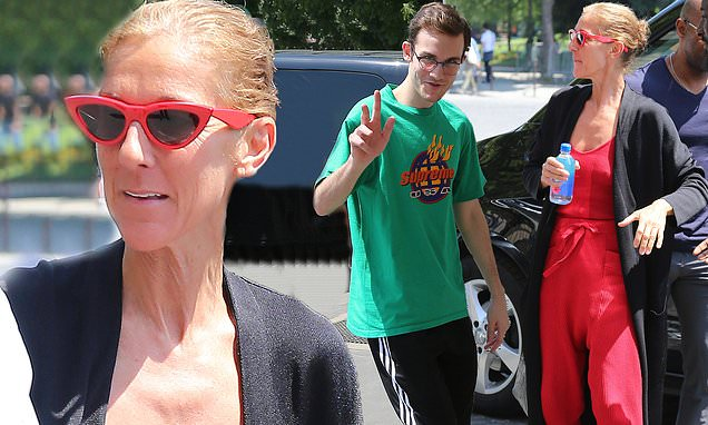 Céline Dion steps out in red harem pants with son René-Charles