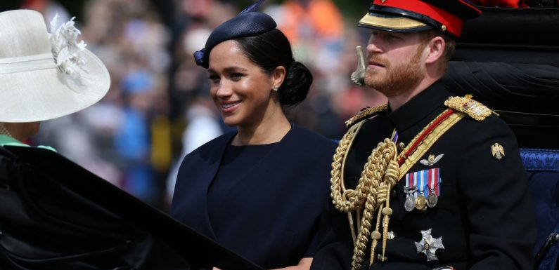Meghan Markle makes FIRST appearance since birth of son Archie as she attends Trooping the Colour in stunning navy outfit