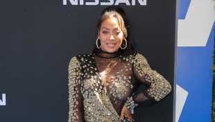 La La Anthony Rocks Black & Gold Mini Dress On BET Awards 2019 Red Carpet