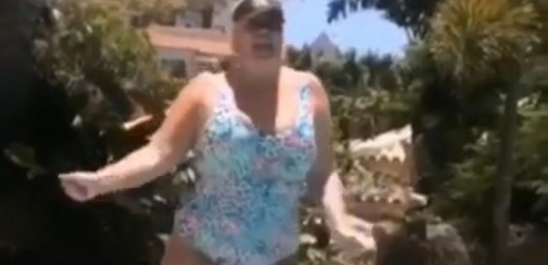 Gemma Collins jiggles her bum as she strips to swimsuit for slow-mo dance