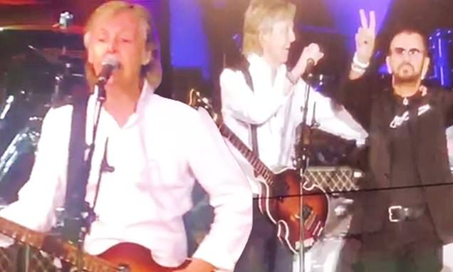 Paul McCartney reunites with Beatles band mate Ringo Starr on stage