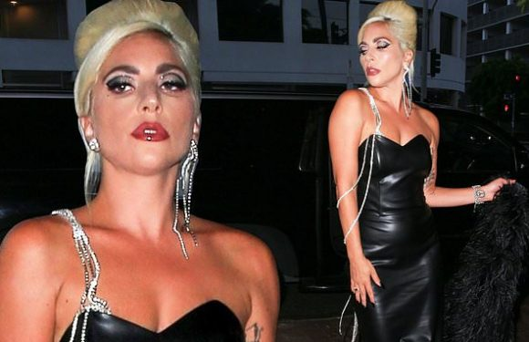 Lady Gaga stuns in a black leather dress at Haus Laboratories party