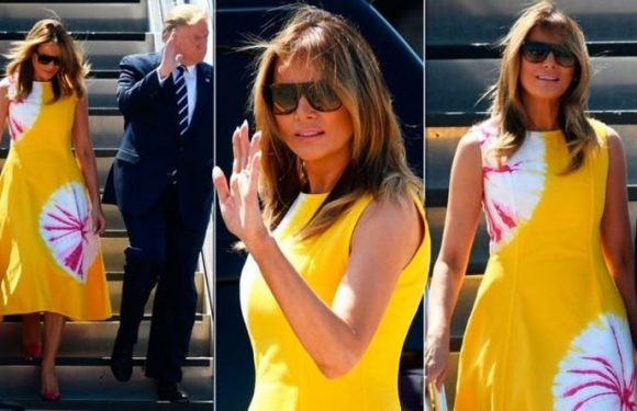 Melania Trump wears bright yellow summer dress as she arrives in France for G7 summit