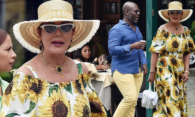Kris Jenner wows in a sunflower as she hits Portofino's shops