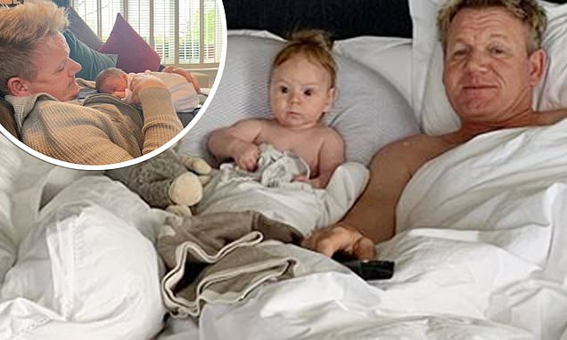 Gordon Ramsay spends a lazy morning in bed with his baby son Oscar