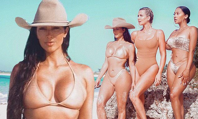 Kim Kardashian puts on a sultry front in the Bahamas