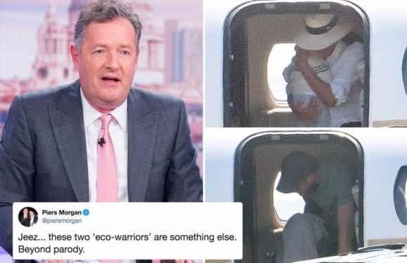 Piers Morgan blasts 'eco-warriors' Meghan Markle and Prince Harry's jet-setting ways as 'beyond parody' as they board fourth private flight in 11 days