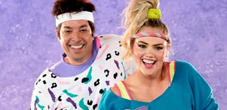 Kate Upton and Jimmy Fallon Face Off for Epic '80s Exercise Battle, But It's the Outfits That Win