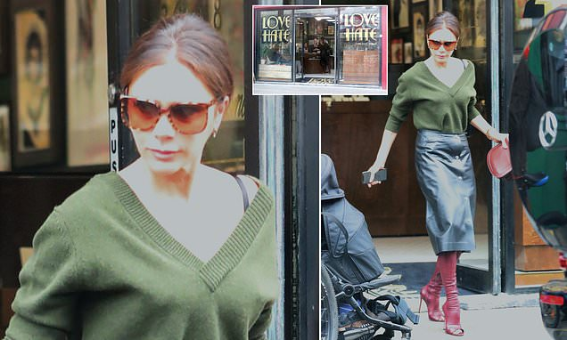 Victoria Beckham PIC EXCLUSIVE: Star leaves a tattoo parlour in London