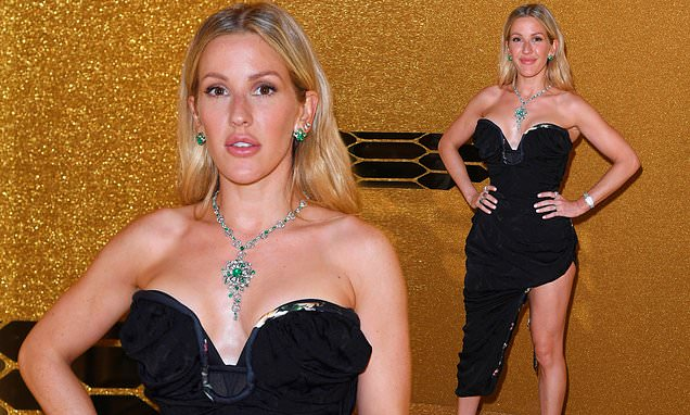 Ellie Goulding dons a one-legged jumpsuit at the Bulgari LFW party
