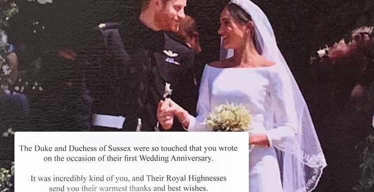 Meghan and Harry send fans a favourite wedding photo to thank them for the well-wishes they received on their first anniversary – The Sun