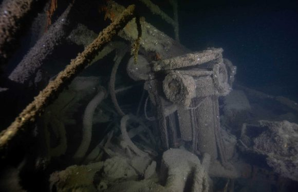 Last US warship sunk by German sub during WWII reveals its secrets in eerie images from seabed