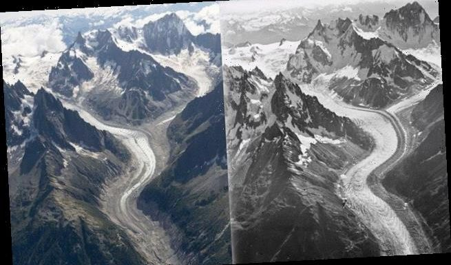 Aerial photograph reveals 100 years of ice loss on Mont Blanc