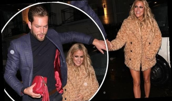 Caroline Flack arrives at her 40th birthday party with boyfriend Lewis