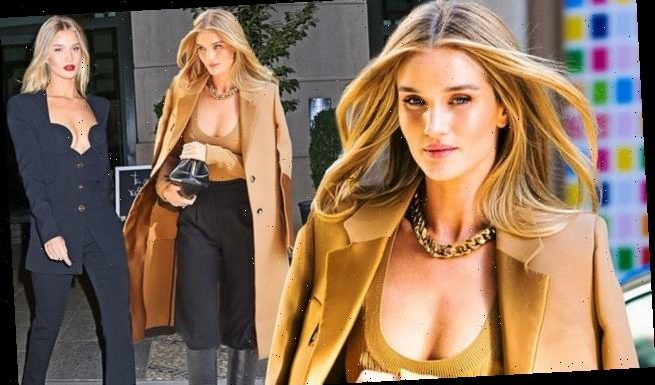 Rosie Huntington-Whiteley goes braless as she steps out in NYC