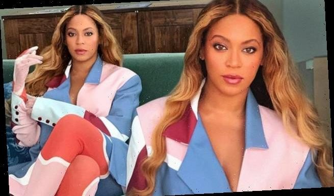 Beyonce flawless in colorful suit by  Jeux de Mains in fashion snaps
