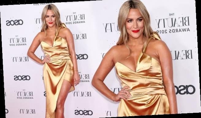 Caroline Flack steps out in busty satin dress at 2019 Beauty Awards
