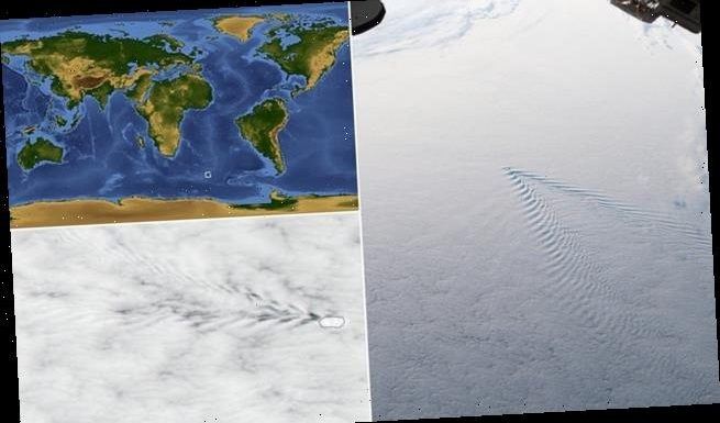 An image taken by the ISS show the way islands can disrupt air flow
