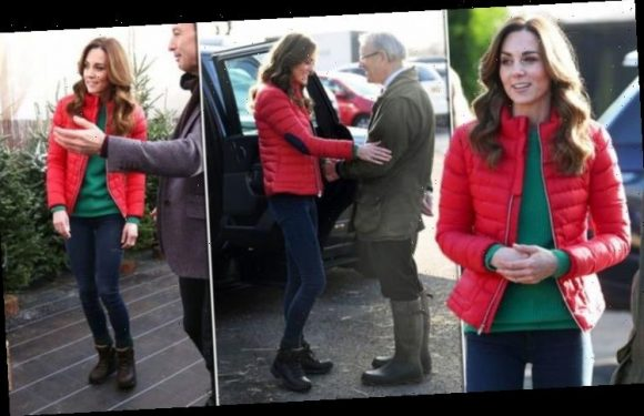 Kate Middleton shows off slender, long legs in skinny jeans and a red jacket
