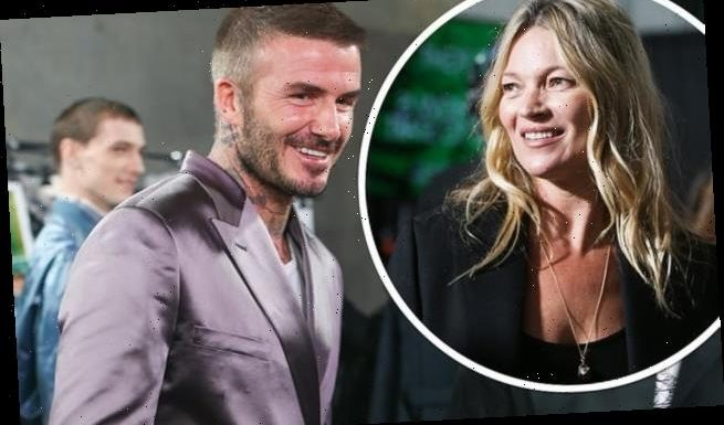 David Beckham Kate Moss at Dior Men's show in Miami