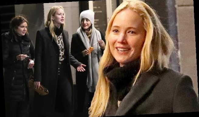 Jennifer Lawrence goes makeup free for girl's night out with her pals