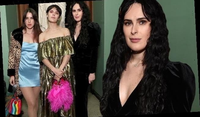 Rumer Willis rocks flowing black dress with sisters Tallulah and Scout