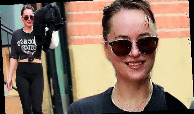 Dakota Johnson flashes her abs and a big smile