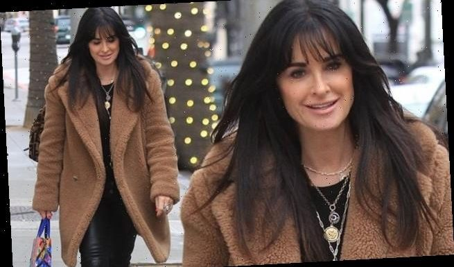 Kyle Richards rocks a coat while getting some holiday shopping done