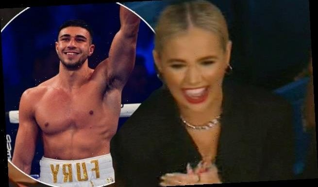 Molly-Mae Hague cheers as boxer beau Tommy Fury defeats opponent