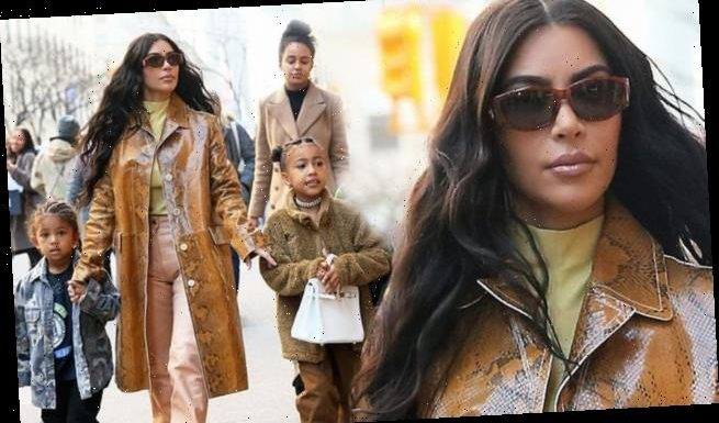 Kim Kardashian takes on the NYC winter in a chic snakeskin jacket