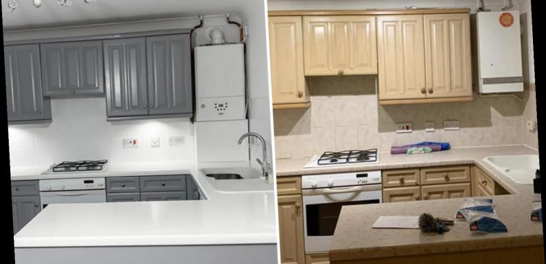 Woman transforms greasy and damaged kitchen with a Mrs Hinch-inspired makeover for just £120