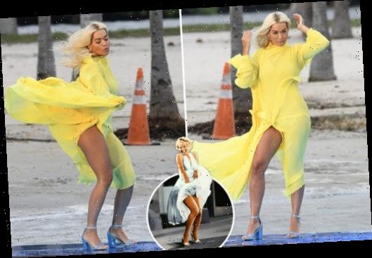 Rita Ora flashes her legs in Marilyn Monroe-style yellow dress whilst filming shoe advert on Miami Beach – The Sun