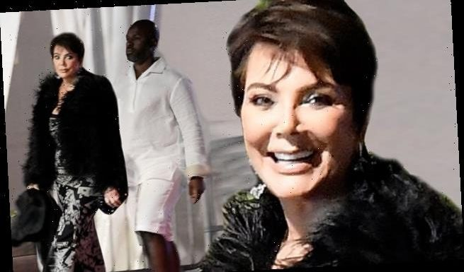 Kris Jenner rocks a feather coat while in St. Barts with Corey Gamble