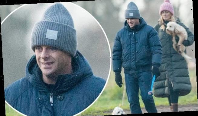 Ant McPartlin and girlfriend Anne-Marie Corbett  in woolly hats