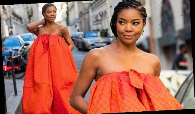 Gabrielle Union stuns in orange puffball dress during PFWM