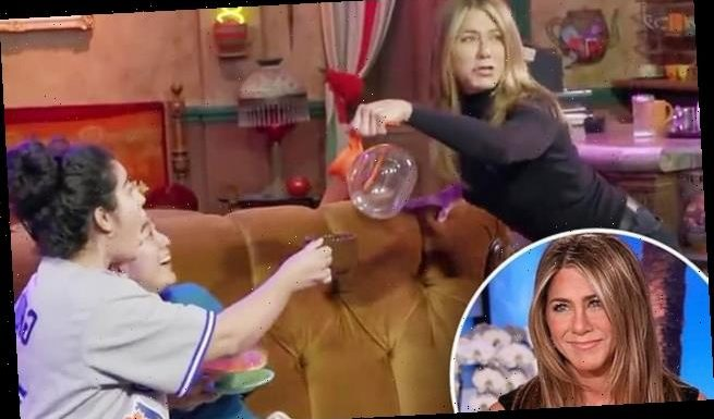 Jennifer Aniston scares fans by jumping out from behind Friends couch