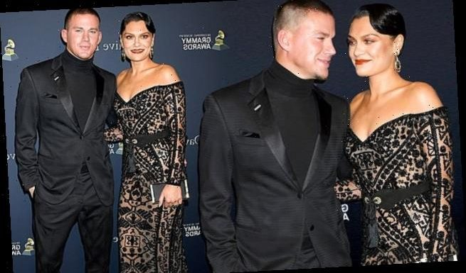 Jessie J cozies up to Channing Tatum on the pre-Grammy gala red carpet