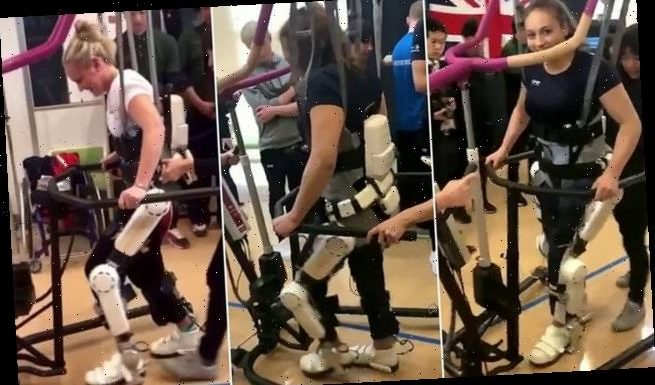 British Paralympian swimmer takes first steps wearing a robotic suit