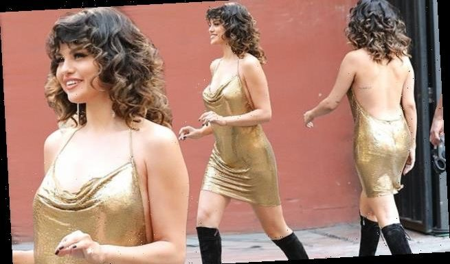 Selena Gomez glitters in slinky gold dress on set of next music video
