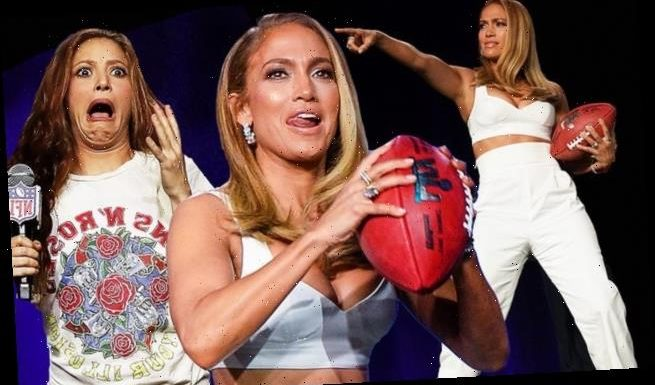 Jennifer Lopez throws a football during Super Bowl event with Shakira