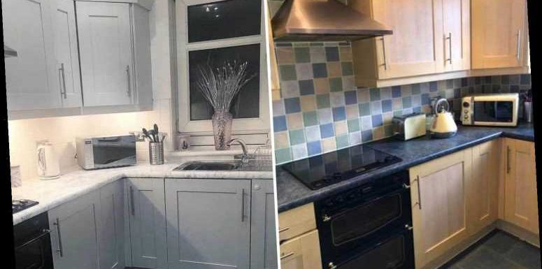 Mum transforms her dated, boring kitchen into a Mrs Hinch inspired space using B&Q paints