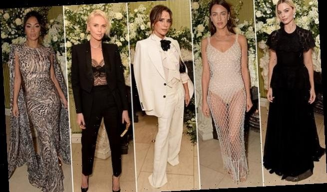 Victoria Beckham ramps up the glamour in an elegant ivory trouser suit