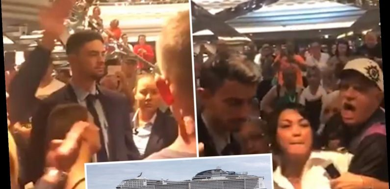 Coronavirus mayhem as 1,000s of cruise passengers shove and threaten each other when vessel is 'marooned' off Mexico