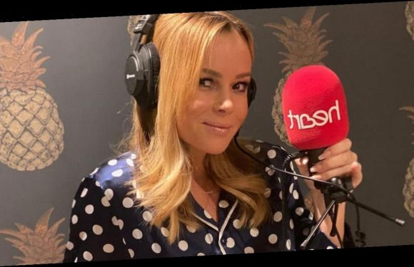 Amanda Holden flashes curves in paper-thin pyjamas as she presents Heart at home