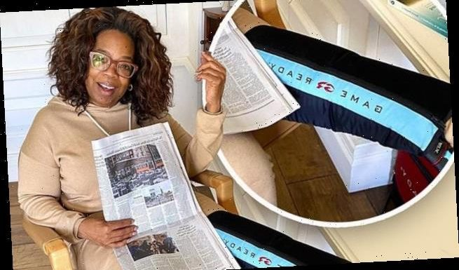 Oprah Winfrey dons ice therapy sleeve on leg, says she isn't injured