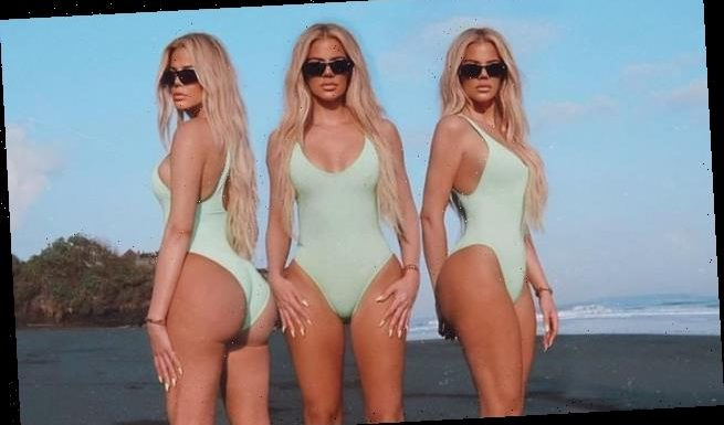 Khloe Kardashian puts on a cheeky display in a mint one piece