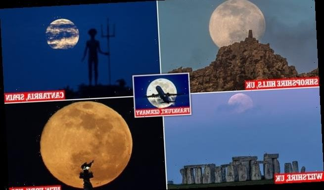 Stunning photographs show the super 'worm' moon lighting up the sky