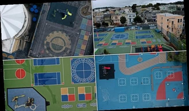 Incredible drone shots show completely empty school playgrounds