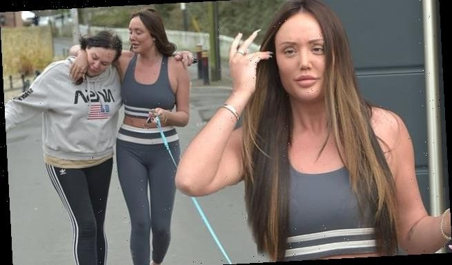 Charlotte Crosby spends time with mother Letitia as they walk the dogs